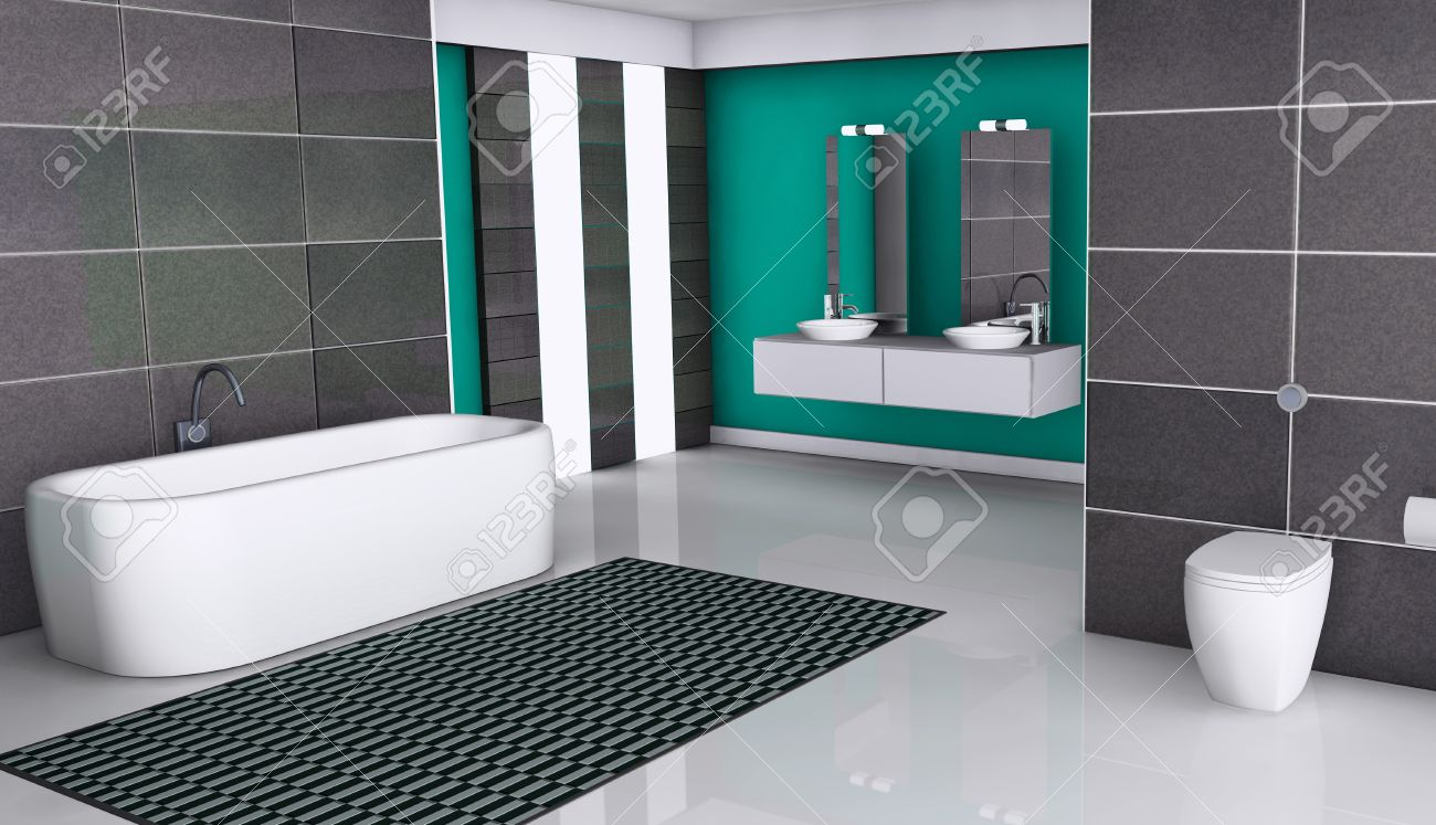 Home interior of a modern bathroom with contemporary design, windows, white floor and granite tiles, 3d rendering. Stock Photo - 17601469