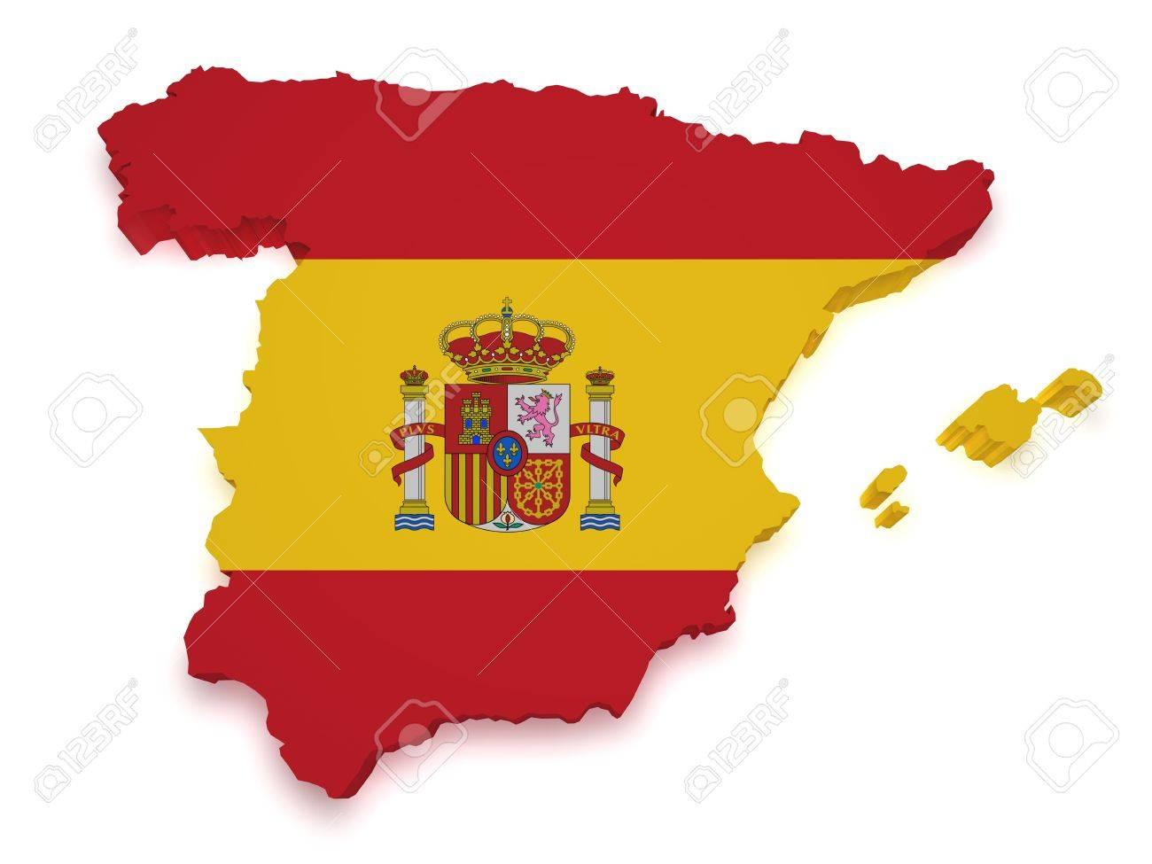 3d Forma De España Y La Bandera Aislado Sobre Fondo Blanco Fotos ...