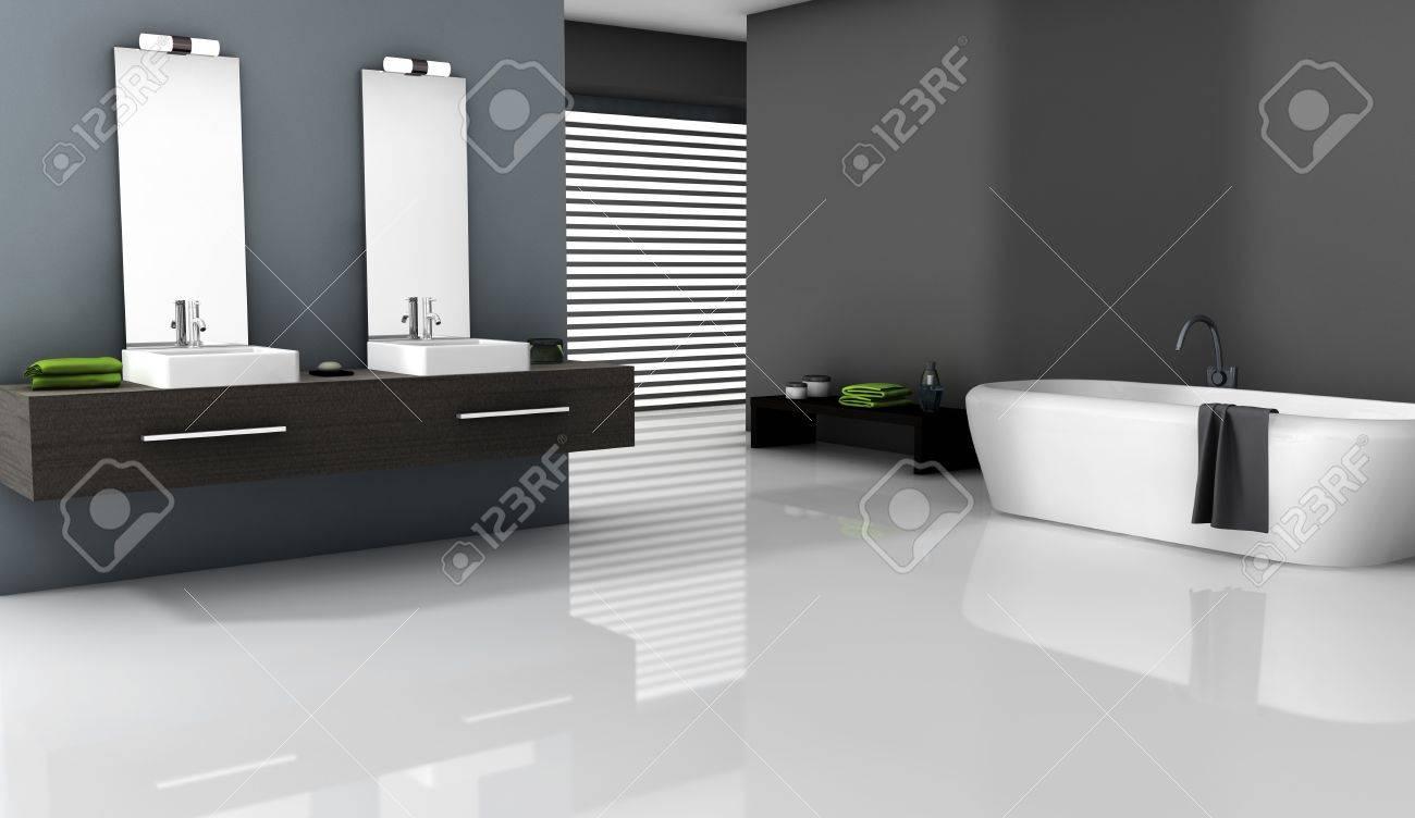 Intérieur de la maison d\'une salle de bains contemporaine avec un design  moderne et des meubles, rendu 3d