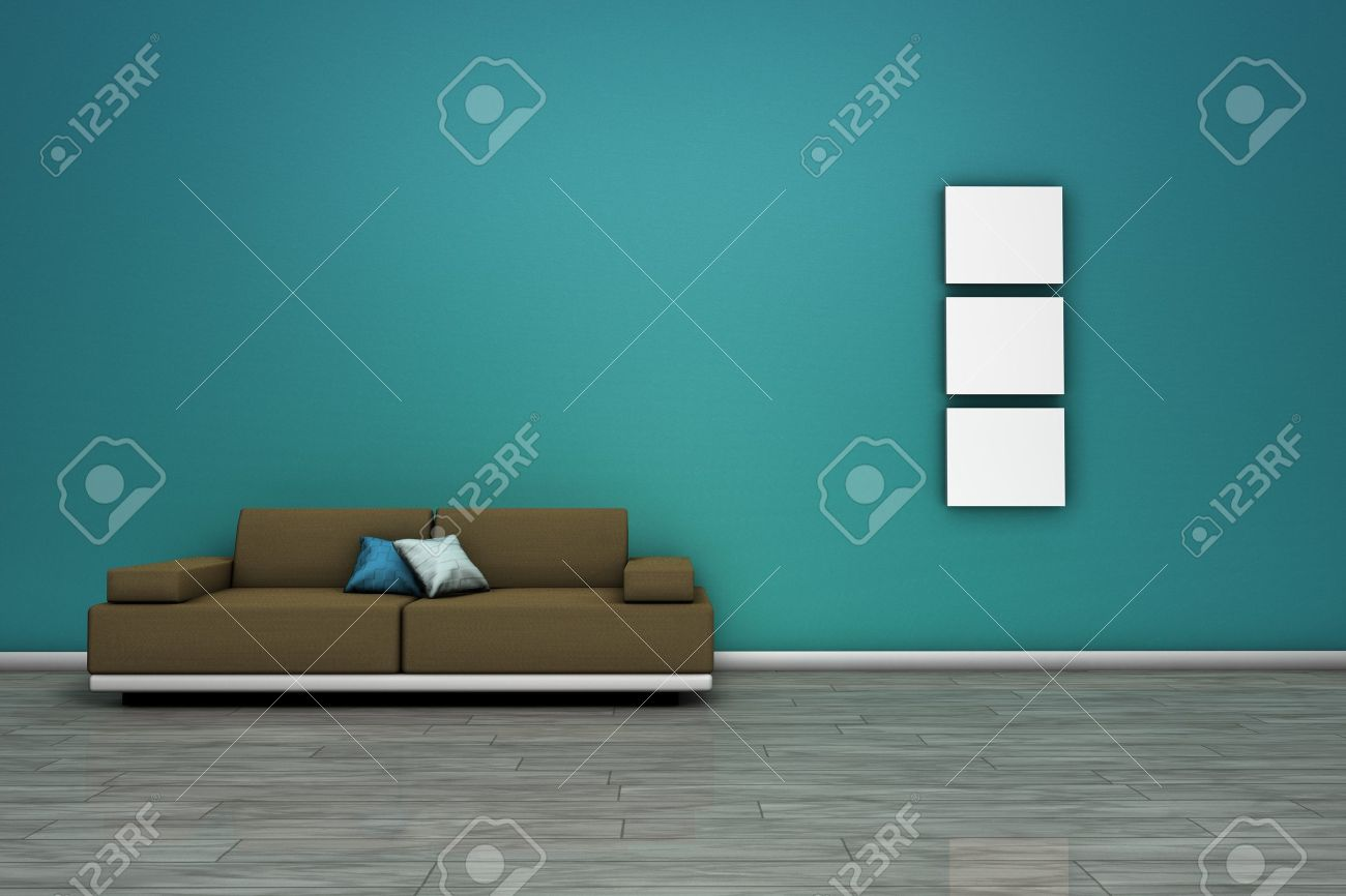 Frontal view of a living room with modern sofa, wooden floor and blank frames with empty space on wall Stock Photo - 17845107