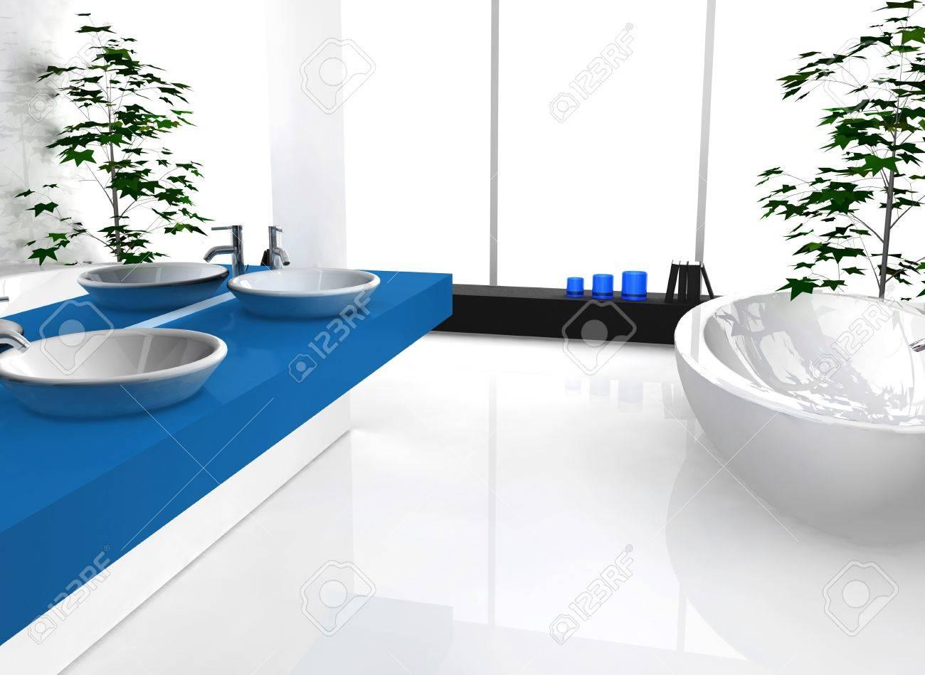 Home Interior Of A Contemporary Blue Bathroom With Modern Design ...