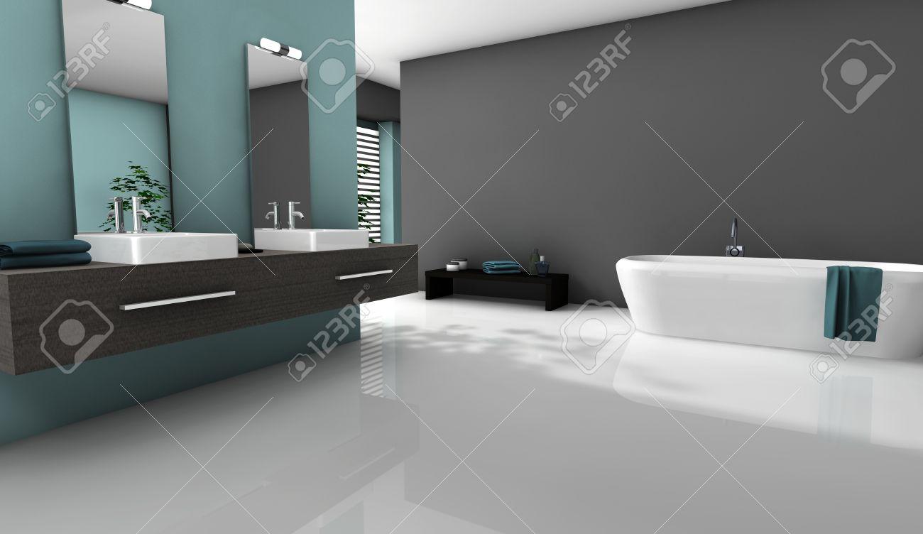 archivio fotografico home interior di un bagno moderno con un design contemporaneo e mobili con pavimento bianco rendering 3d