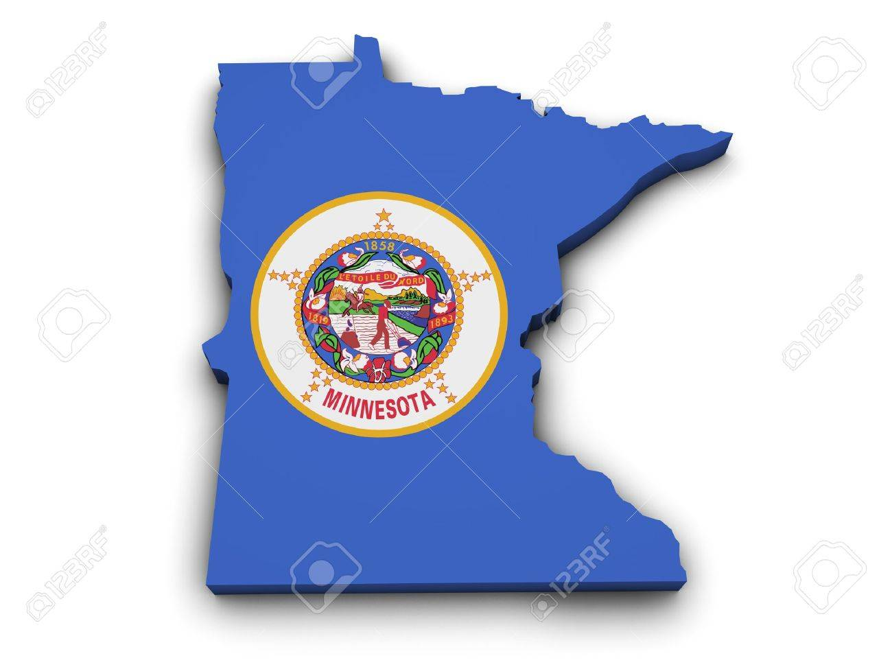 Shape 3d Of Minnesota State Map With Flag Isolated On White