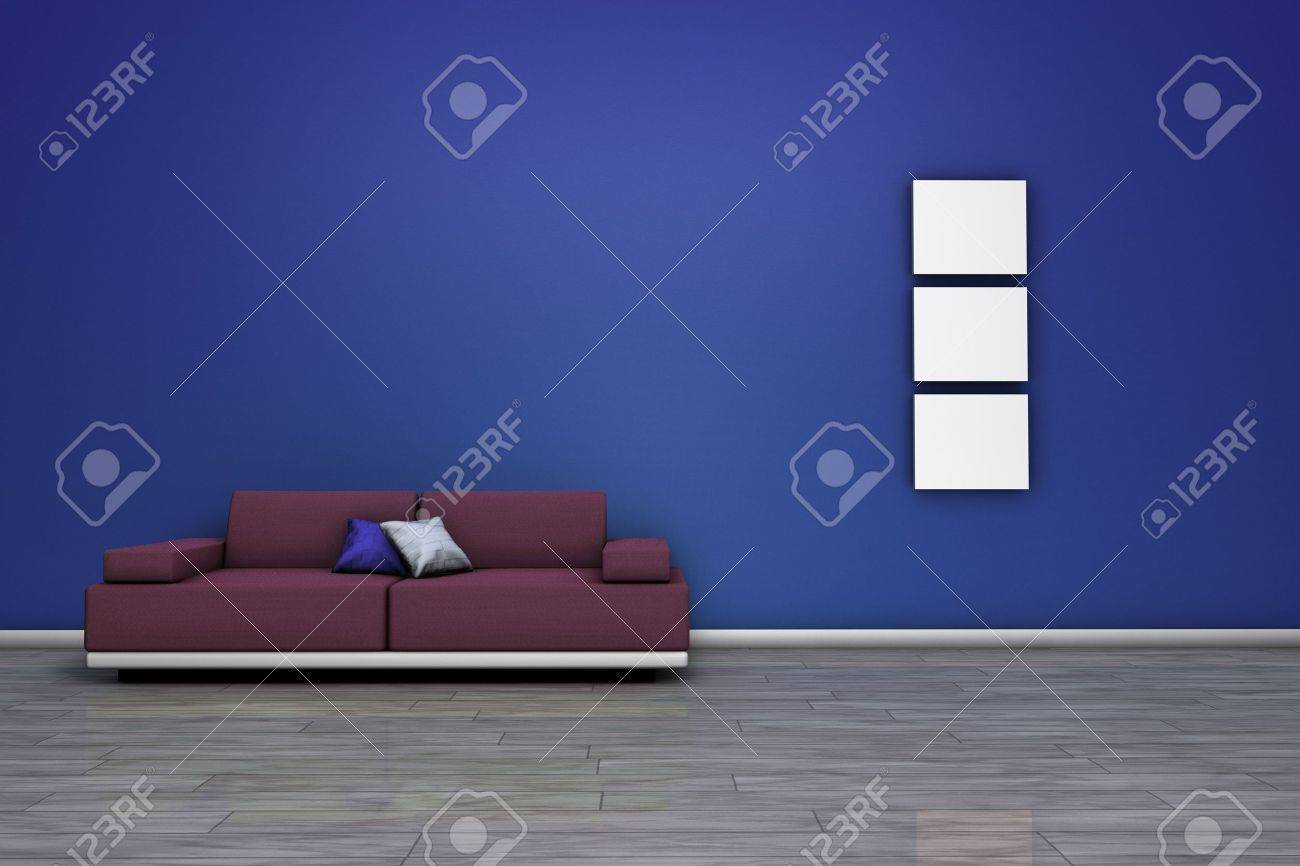 Frontal view of a living room with modern sofa, wooden floor and blank frames with empty space on wall Stock Photo - 17991792