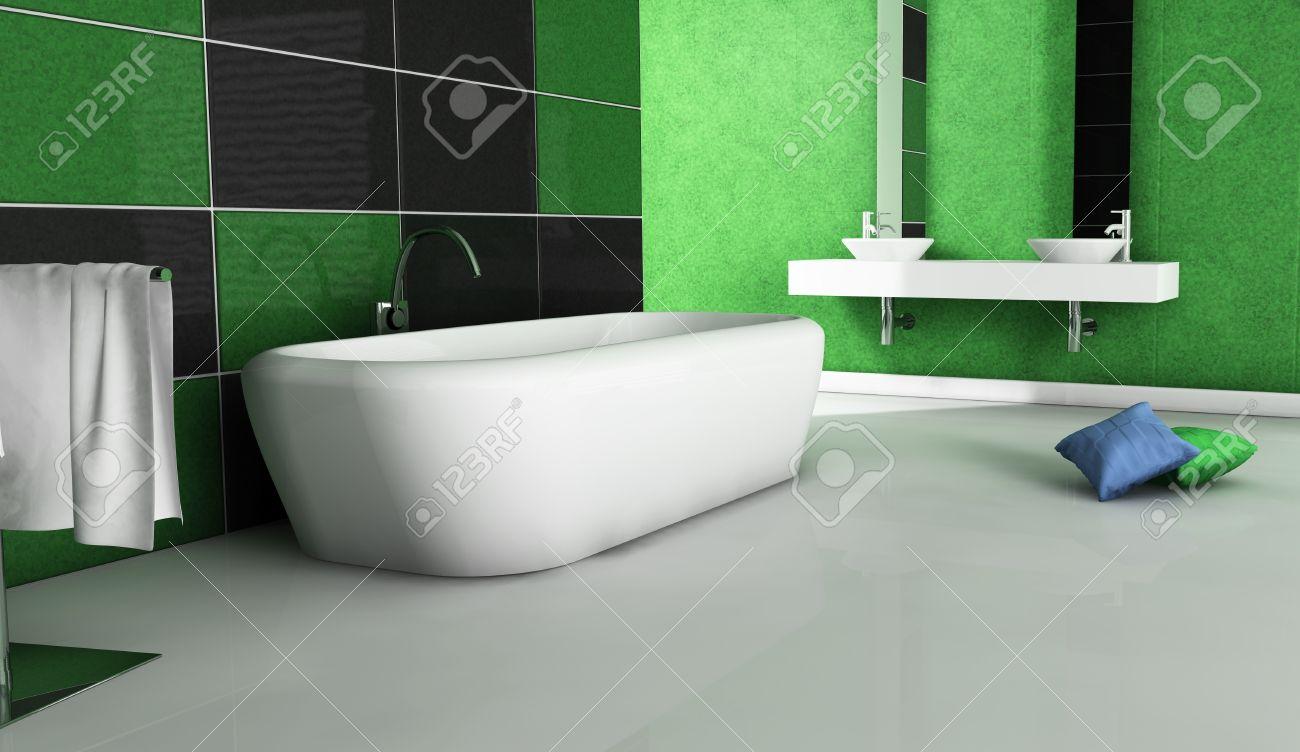 Salle de bain contemporaine avec un design moderne et des meubles, colorée  en vert, noir et blanc, le rendu 3d