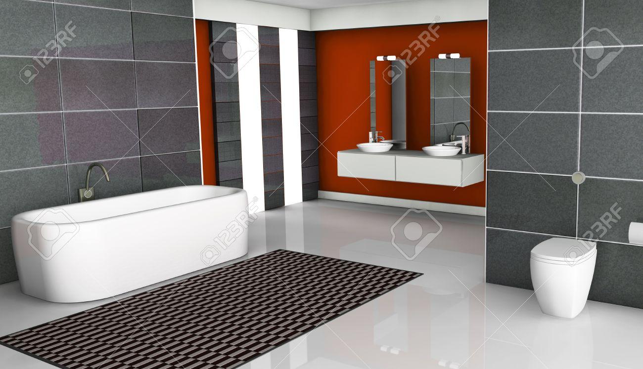 Intérieur de la maison d\'une salle de bains moderne rouge avec un design  contemporain, fenêtres, sol blanc et des tuiles de granit, de rendu 3D