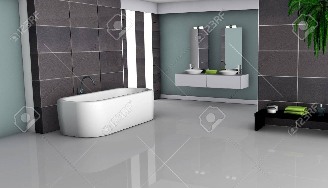 Home interior of a modern bathroom with granite tiles and contemporary design 3d rendering Stock Photo - 18199531