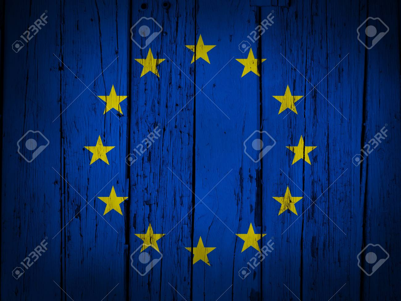 European Union grunge background with EU flag painted on wooden aged wall Stock Photo - 18850920