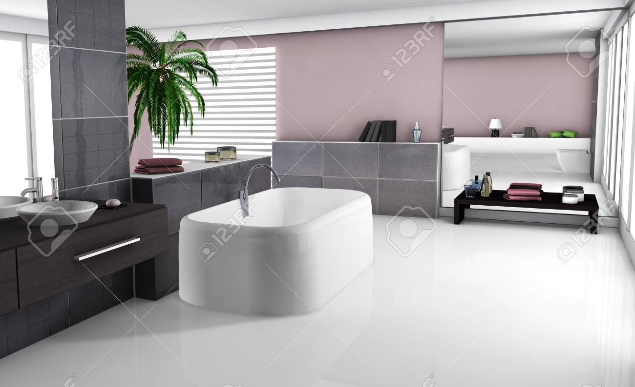 Modern Home Interior Of A Luxury Bathroom With Contemporary Furniture And Design White Floor