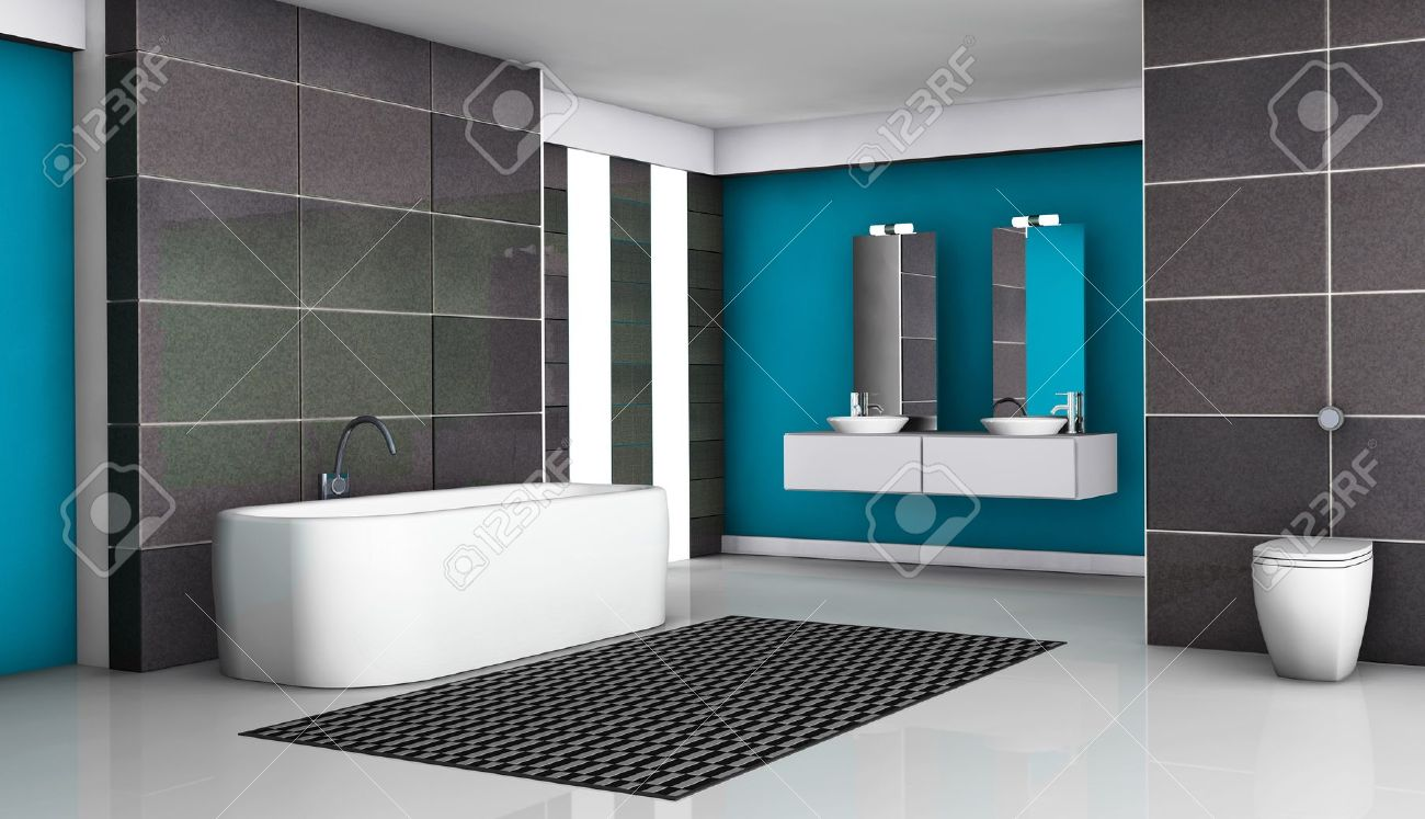Fürdőszoba, Belső, Modern Berendezési Tárgyak és A Kortárs Design ...