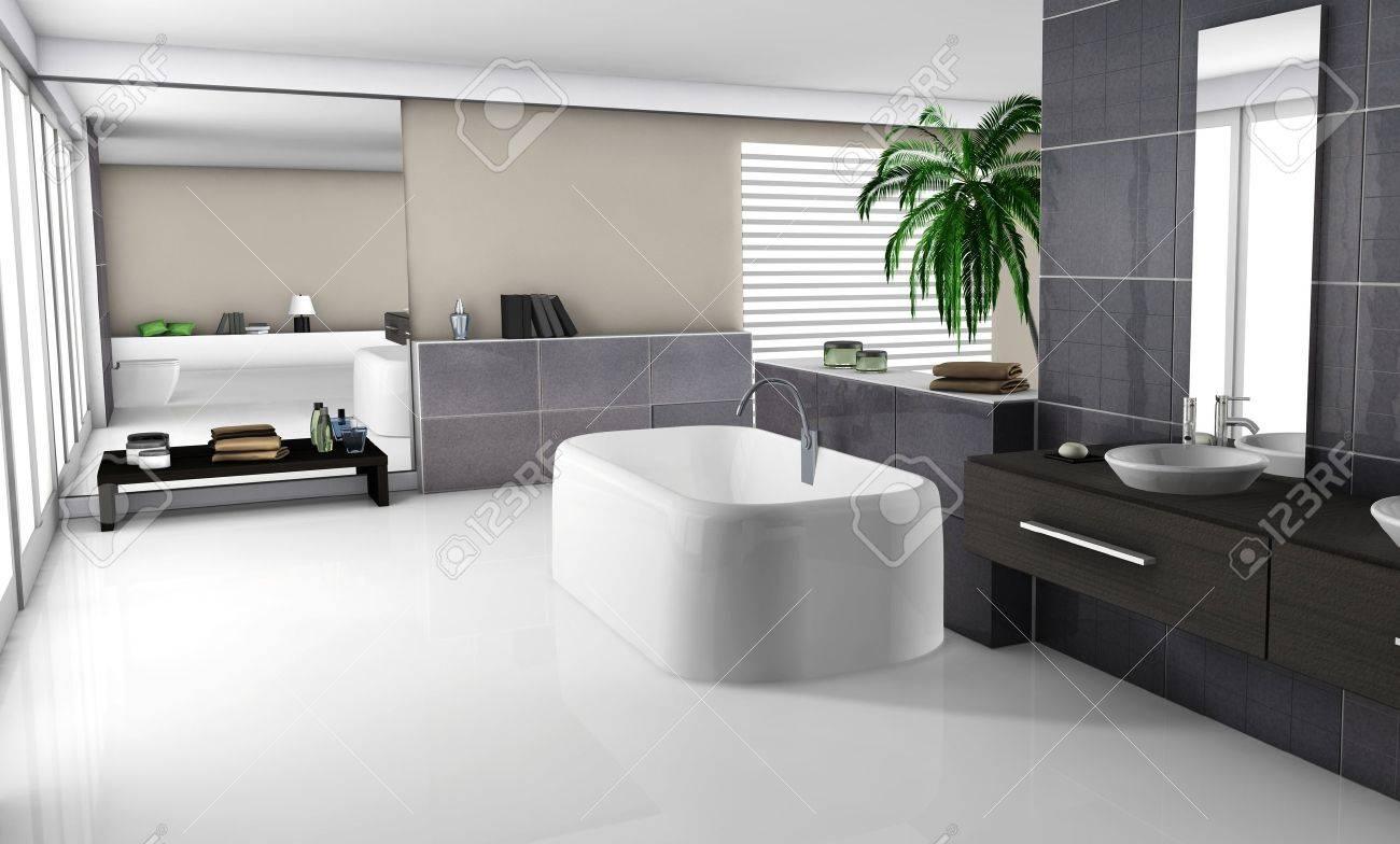 foto de archivo modern interior de una casa de un bao de lujo con muebles modernos y de diseo suelo de baldosas de granito blanco y negro no objetos
