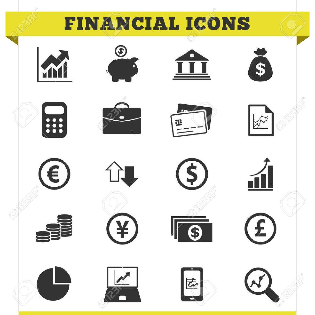 Vector set of financial and money related icons and design elements for web pages, bank, online trading and loan business services  Illustration on white background Stock Vector - 19495025