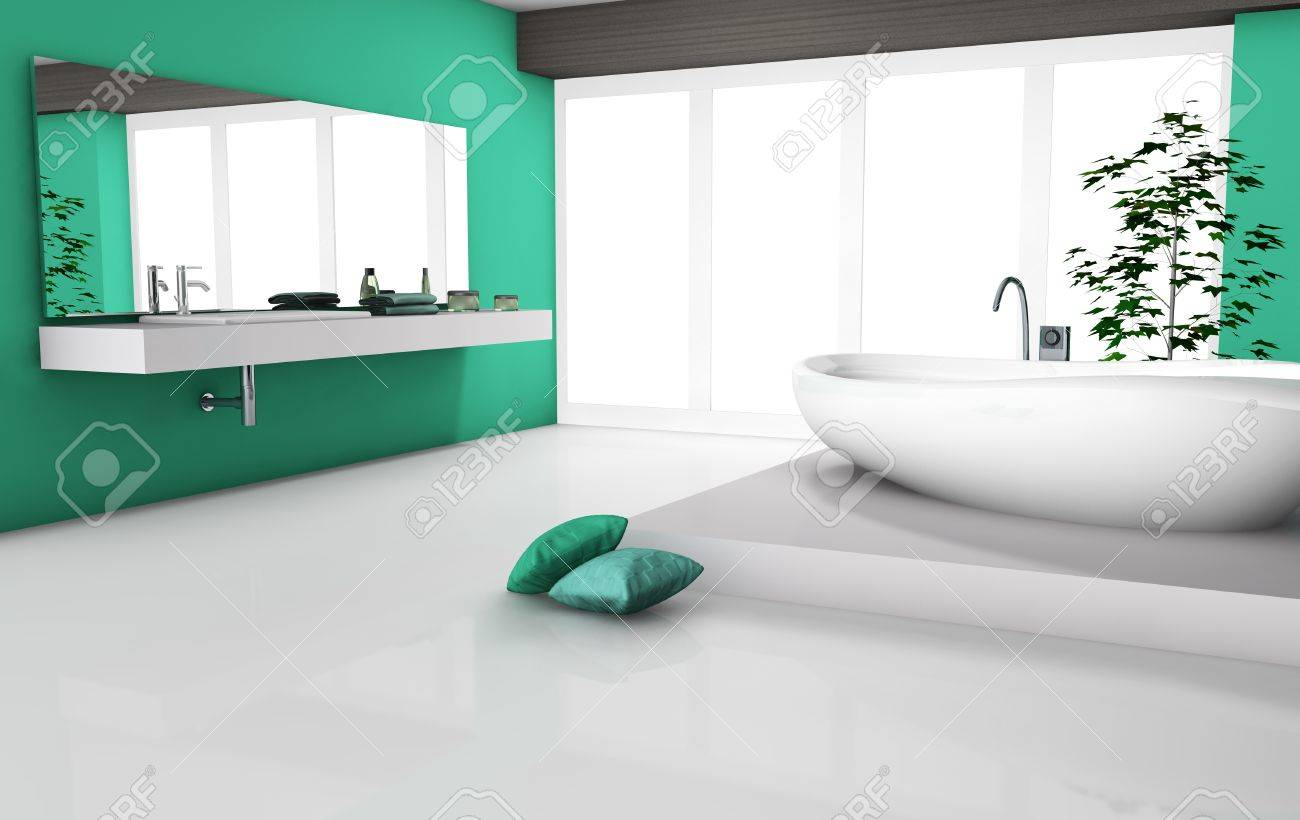 Modern home interior of a luxury bathroom with contemporary furniture and design, white floor and bathtub  No brandnames objects Stock Photo - 20197241