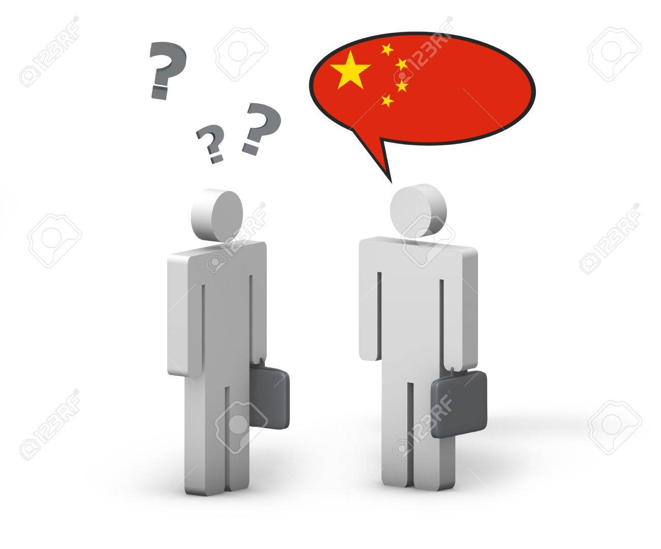 Business Chinese Mandarin concept with a funny conversation between