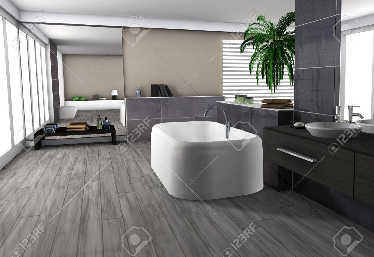 Int?rieur de la maison moderne d'une salle de bains luxueuse avec ...