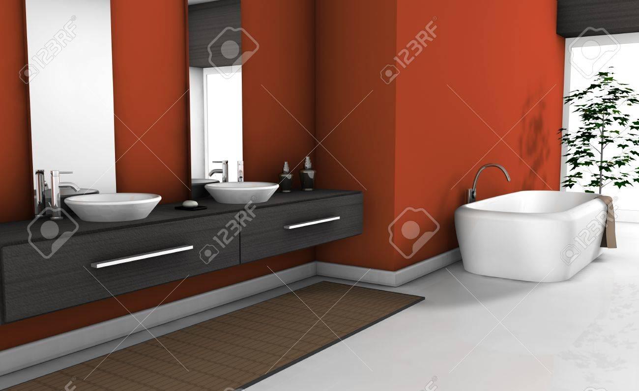 Salle De Bain Rouge Blanc accueil intérieur d'une salle de bain rouge moderne avec un mobilier  contemporain et design, carrelage blanc et d'une baignoire d'objets pas de  noms