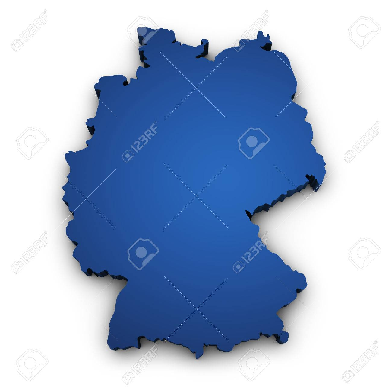 Shape D Of Germany Map Colored In Blue And Isolated On White - Germany map shape