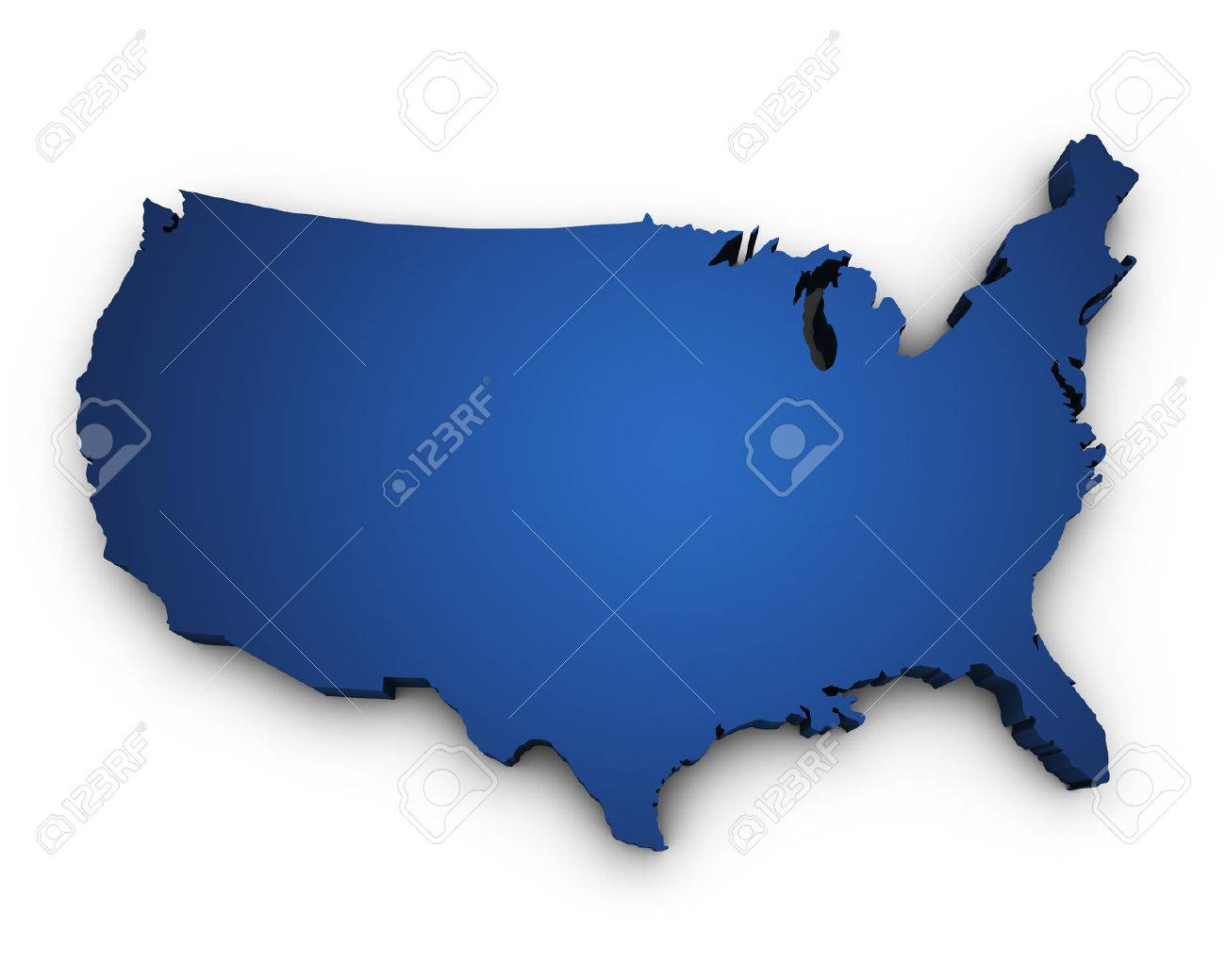 Shape 3d Of Usa United States Of America Map Colored In Blue And Isolated On White