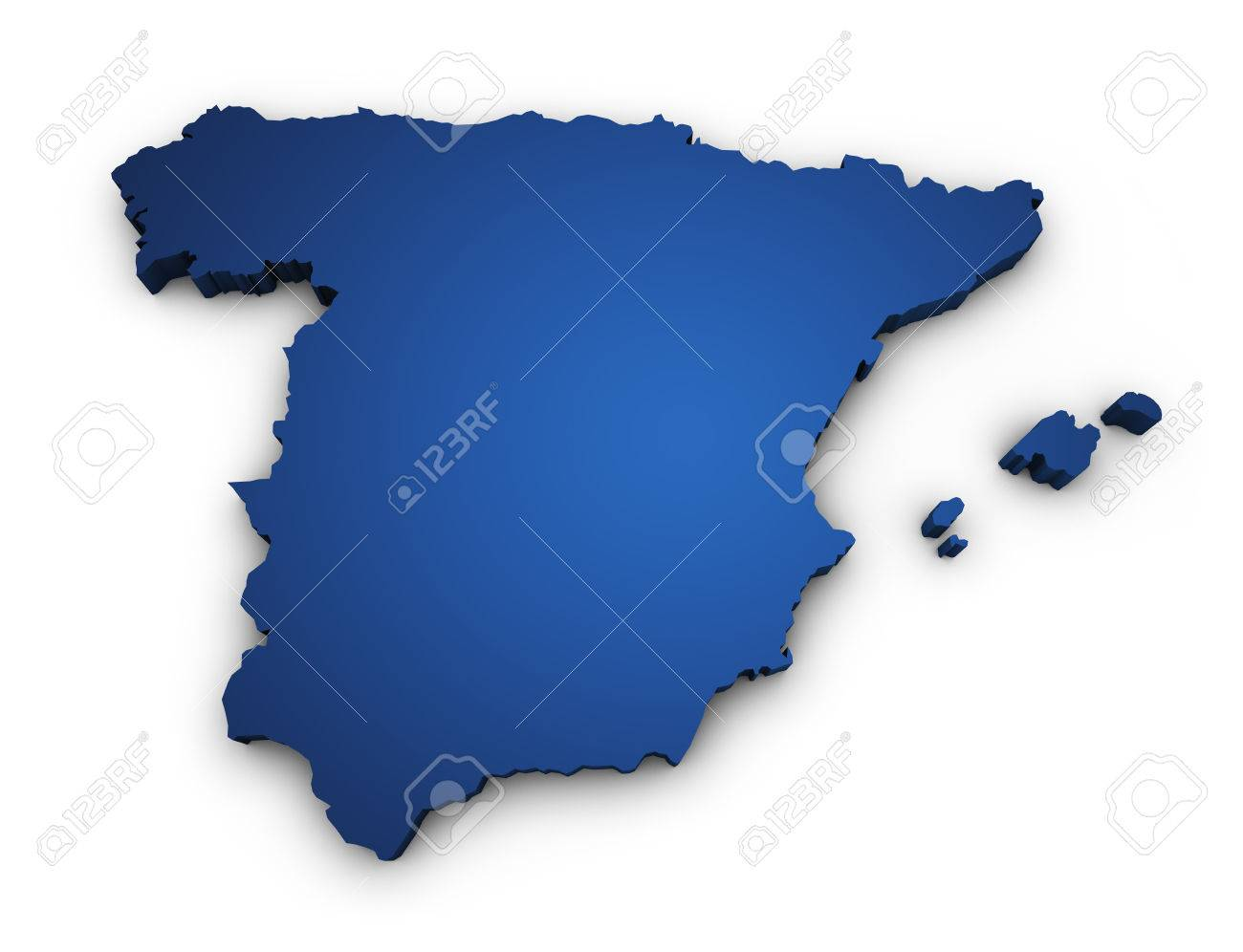 Mapa De España 3d.Shape 3d Of Spain Map Colored In Blue And Isolated On White Background