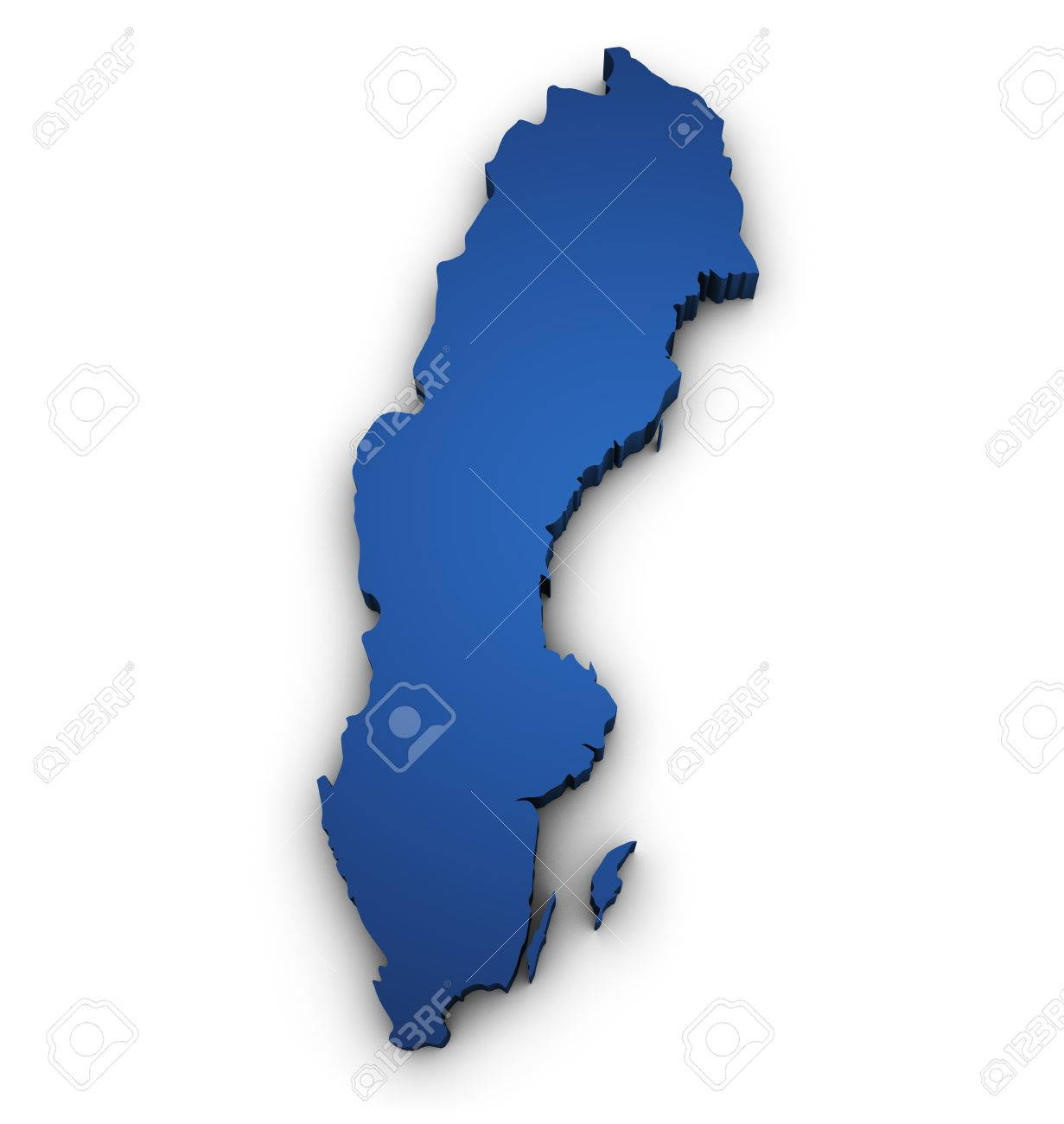 Shape D Of Sweden Map Colored In Blue And Isolated On White - Sweden map 3d