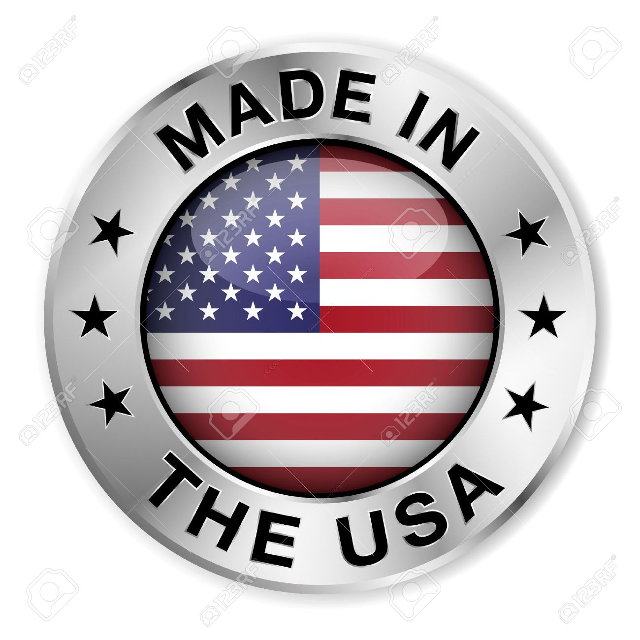 Made in the usa silver badge and icon with central glossy united made in the usa silver badge and icon with central glossy united states of america flag buycottarizona