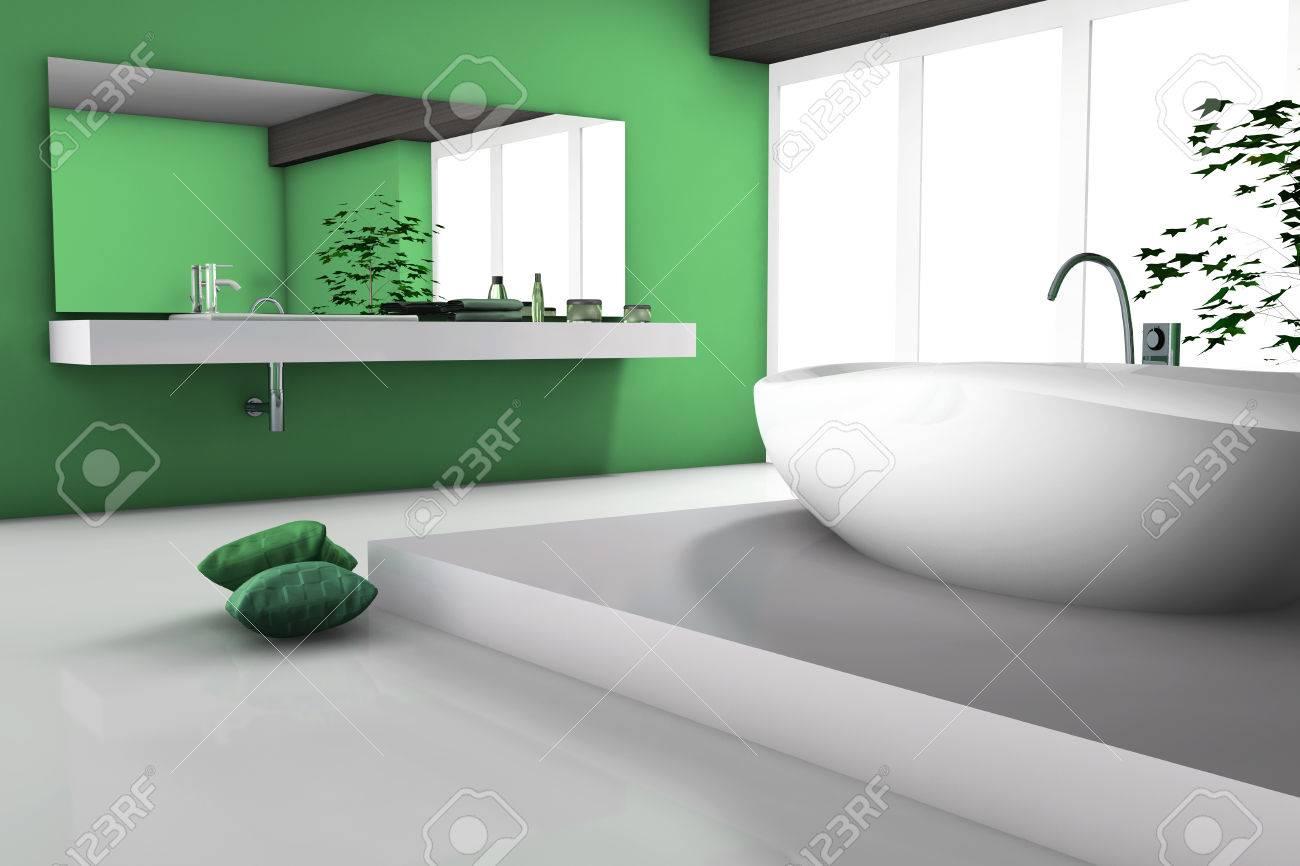 casa interno di un moderno bagno verde con vasca e 3d design ... - Bagni Con Vasca Moderni