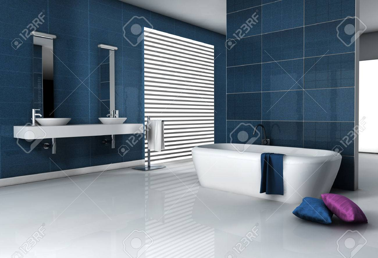 Accueil intérieur d\'une salle de bains moderne carrelée avec baignoire et  design contemporain rendu 3d