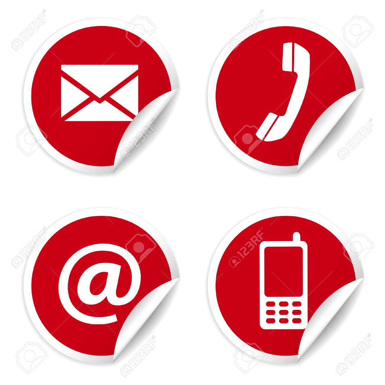 Vector web and internet contact us icons set and design symbols on red circular stickers with curl