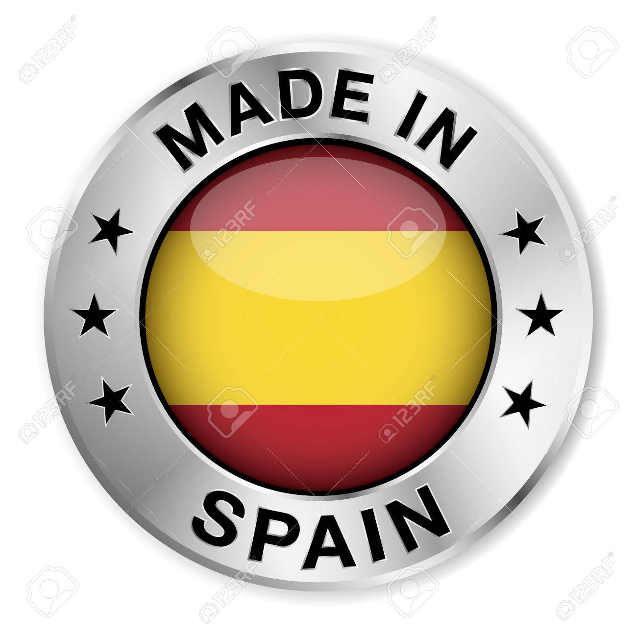 Made In Spain Silver Badge And Icon With Central Glossy Spanish ...