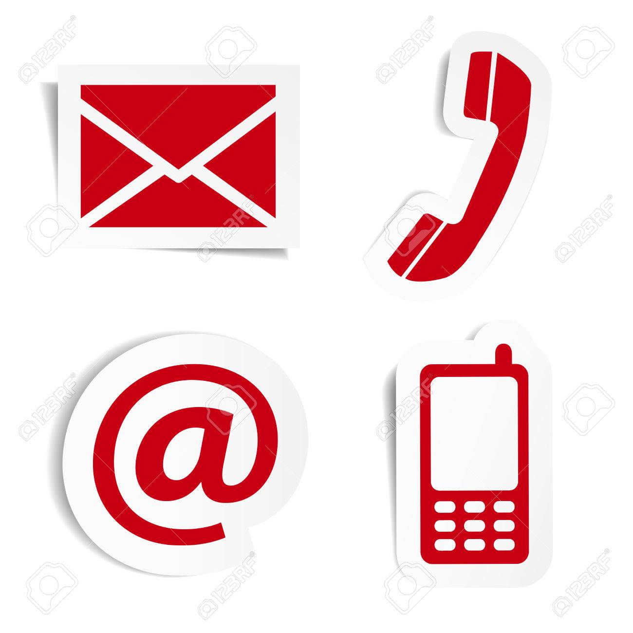Vector website and internet contact us red icons set and design symbols on stickers with shadow vector illustration isolated on white background