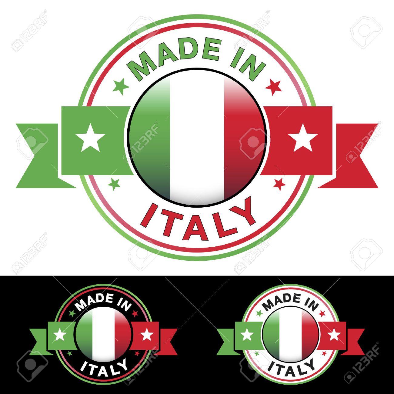 Très Made In Italy étiquette Et L'icône Avec Un Ruban Et Le Centre  RO23