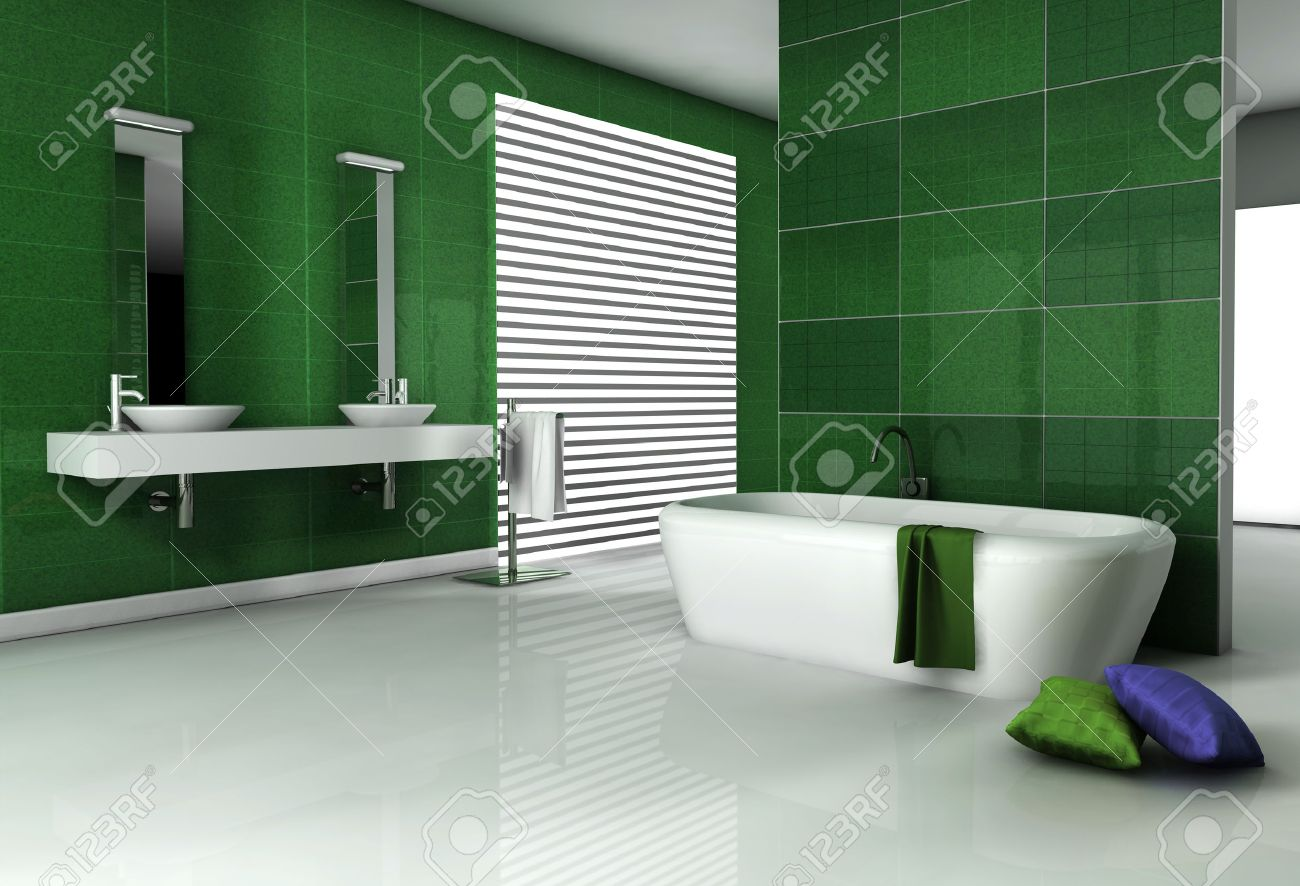 bathroom interior with modern fixtures bathtub and contemporary  - bathroom interior with modern fixtures bathtub and contemporary designwith green granite tiles and white