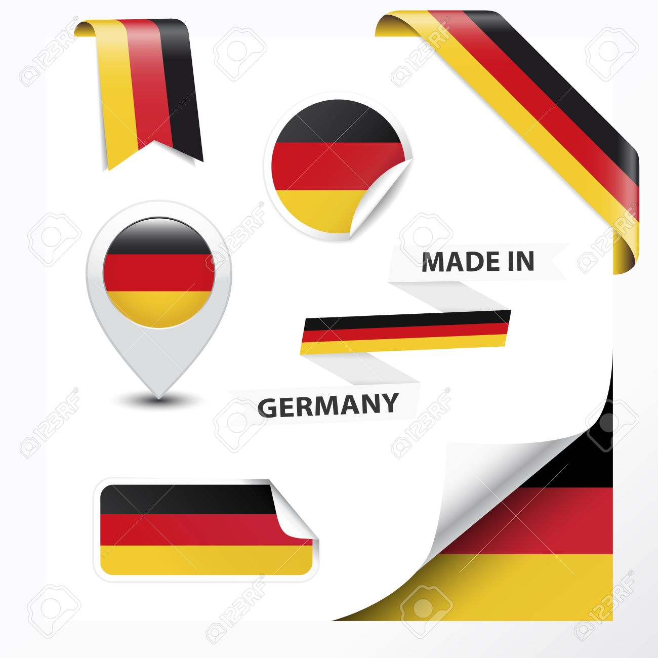 Made In Germany Collection Of Ribbon Label Stickers Pointer