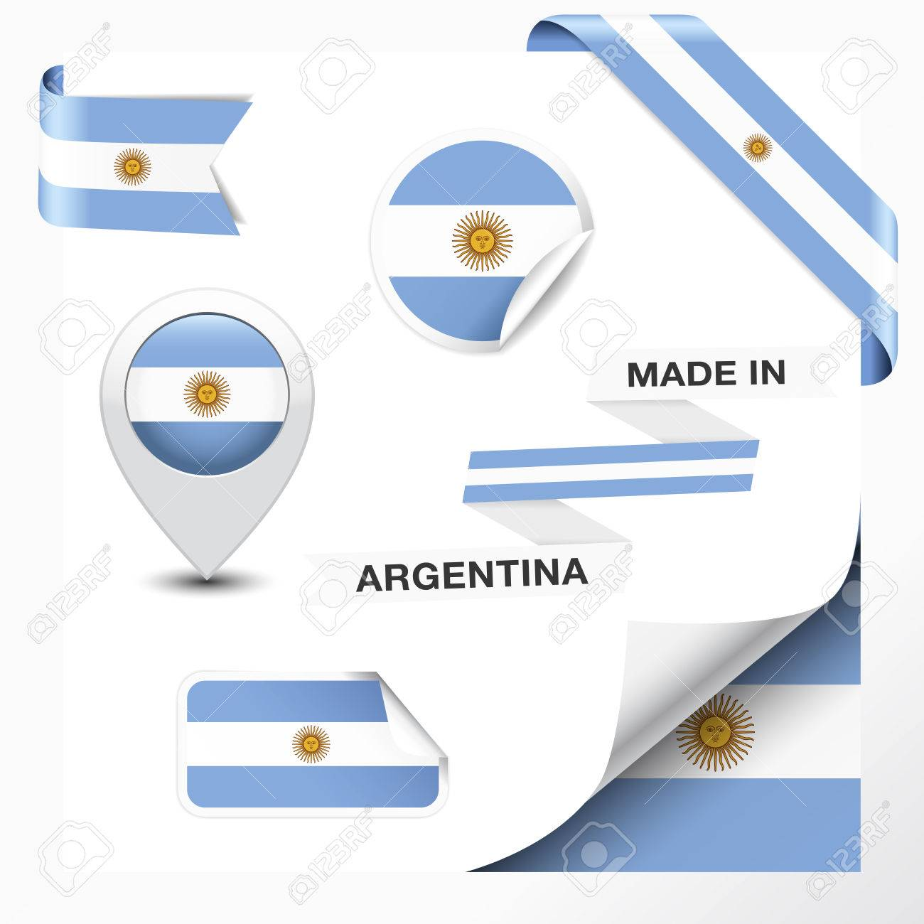 Made in argentina collection of ribbon label stickers pointer badge icon