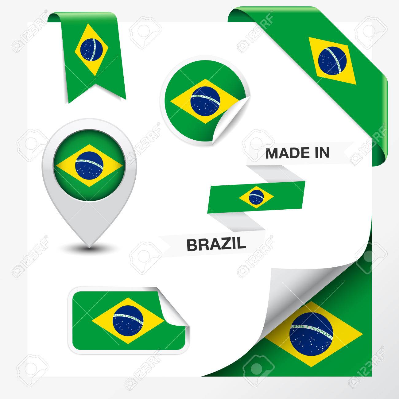 Handmade watercolor brazil flag brasil stock photos freeimages com - Brazil Flag Business Made In Brazil Collection Of Ribbon Label Stickers Pointer