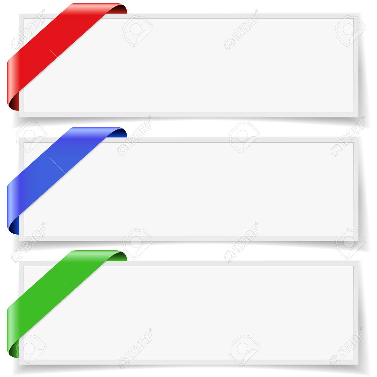 Set Of Three Blank Web Banner Frames With Colorful Ribbons, Shadow ...