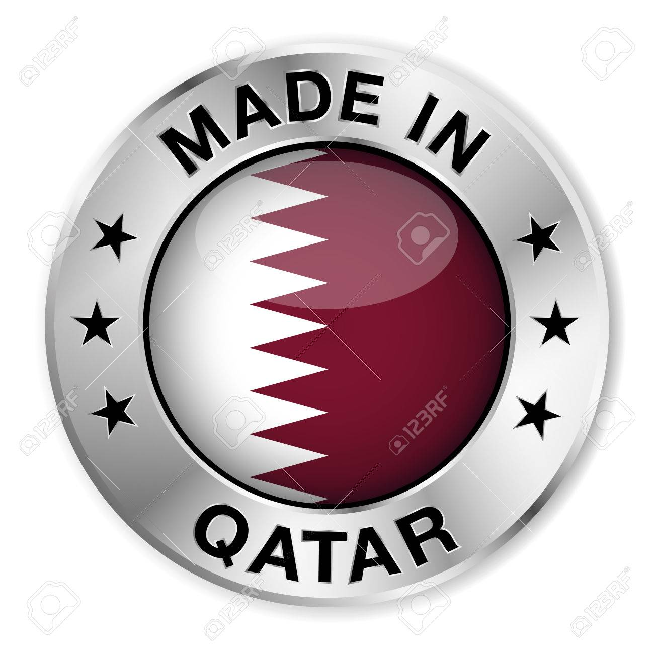 Made in Qatar silver badge and icon with central glossy Qatari