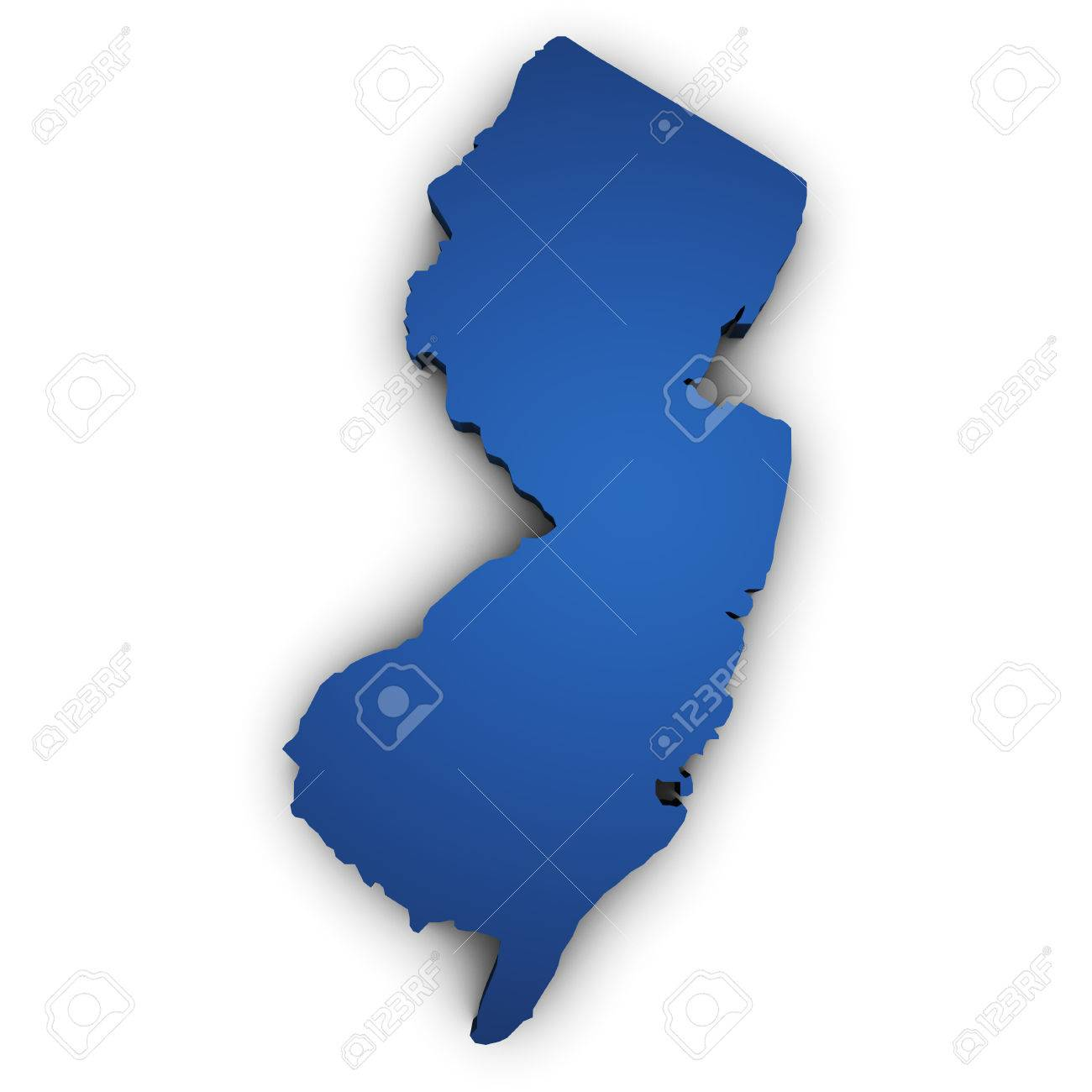 Shape 3d Of New Jersey State Map Colored In Blue And Isolated