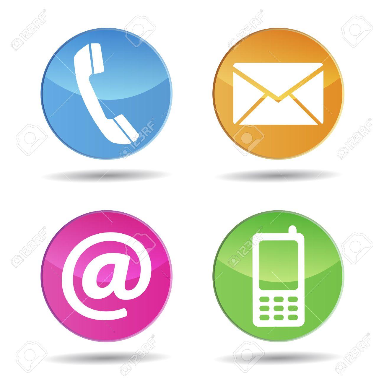 Web E Internet Contattaci Icone E Simboli Di Disegno Su Pulsanti ...