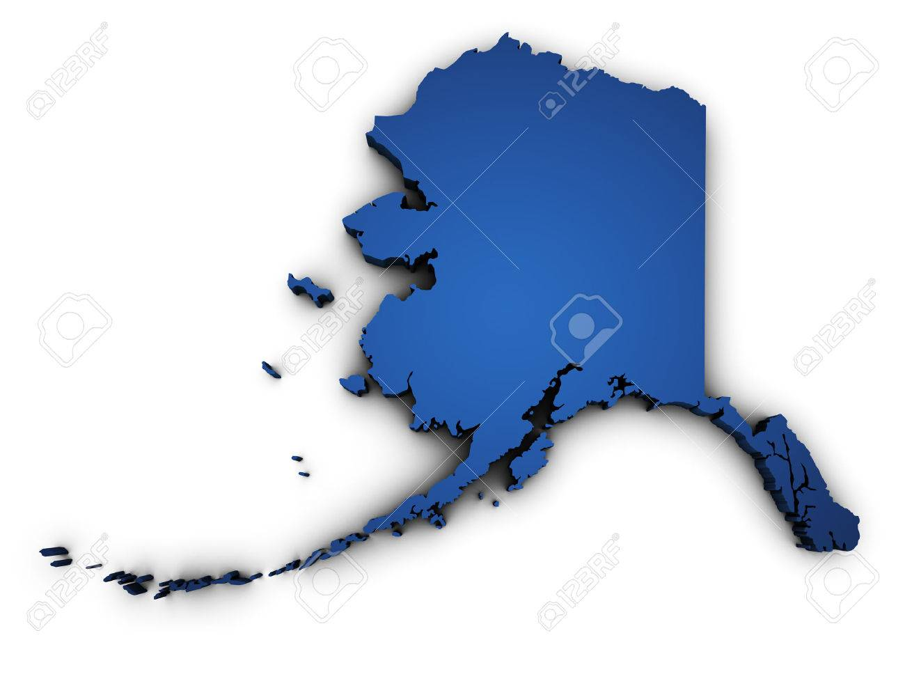 Shape 3d Of Alaska State Map Colored In Blue And Isolated On.. Stock ...