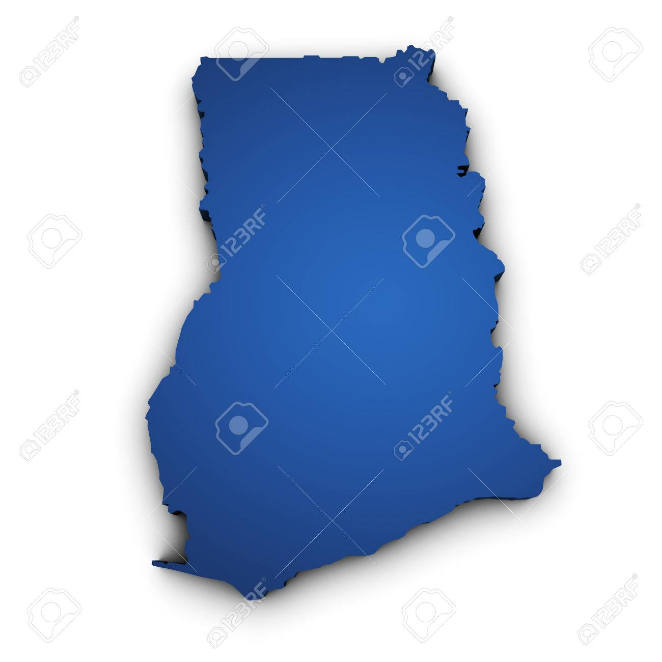 Shape D Of Ghana Map Colored In Blue And Isolated On White - Ghana map