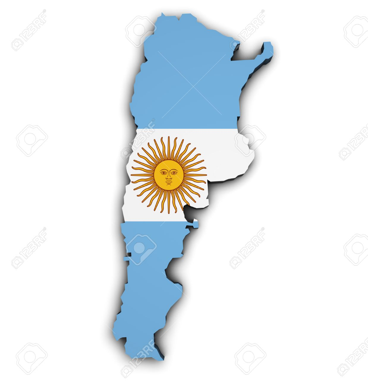 Shape D Of Argentina Map With Flag Illustration Isolated On - Argentina map shape