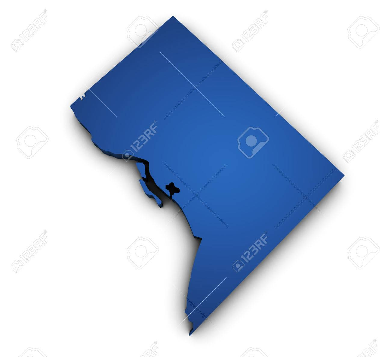 Shape D Of Washington DC Map Colored In Blue And Isolated On - Washington dc map symbol