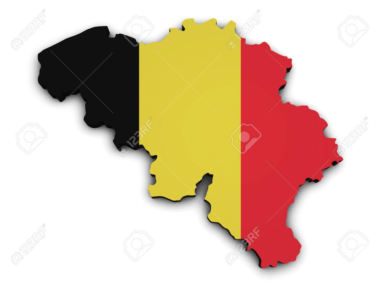 Shape 3d Of Belgium Map With Belgian Flag Illustration Isolated