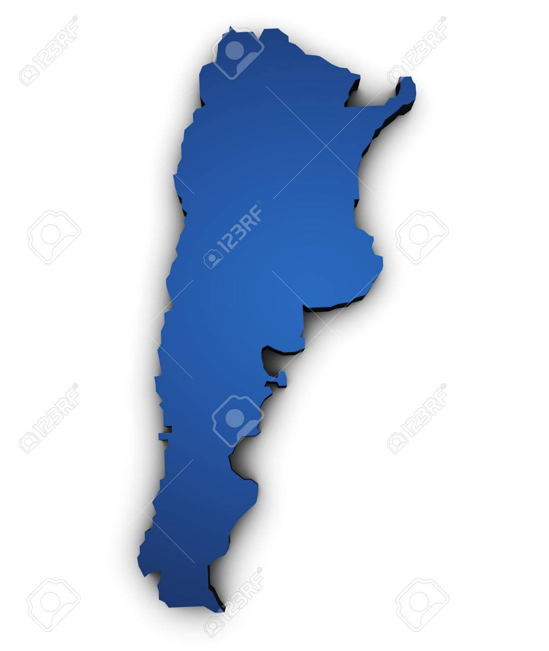 Shape D Of Argentina Map Colored In Blue And Isolated On White - Argentina map shape
