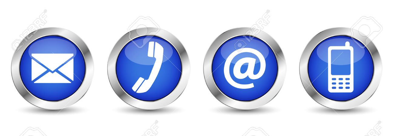 Contact us web buttons set with email, at, telephone and mobile icons on blue silver badge vector EPS 10 illustration isolated on white background. - 34790299
