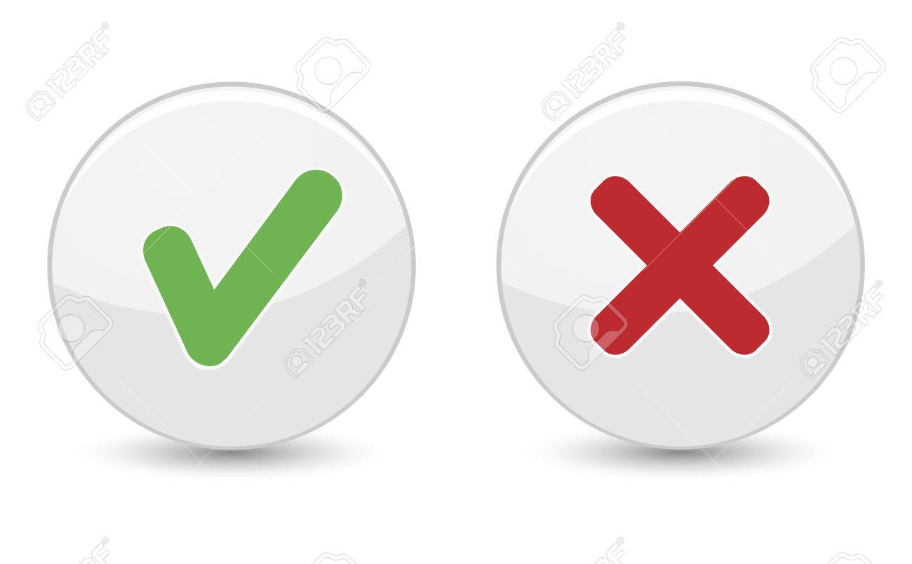 Yes Or No Buttons With Green Check Mark Symbol And Red Cross