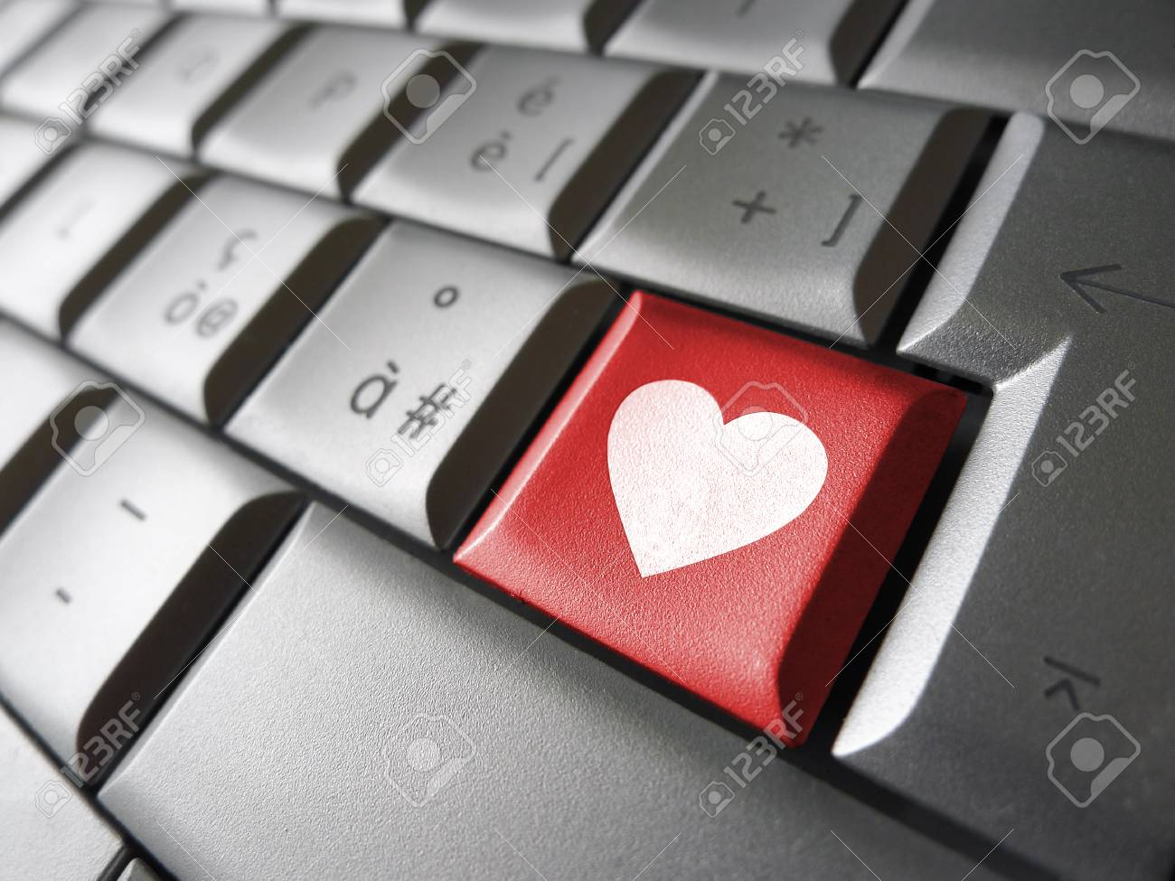 Online Love And Valentines Lovers Concept With A Heart Icon And