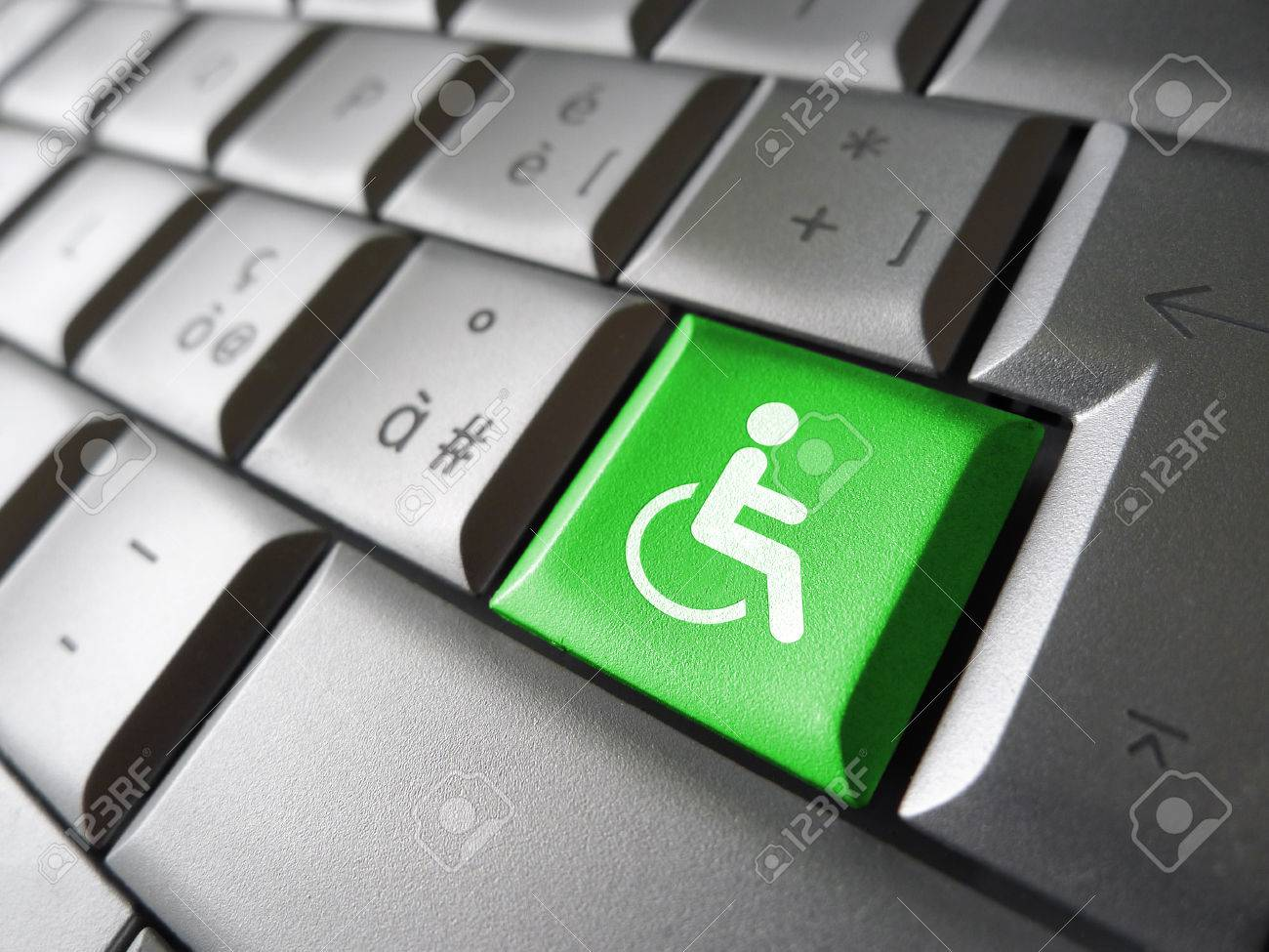 Web content accessibility concept with wheelchair icon and symbol on a green computer key for blog and online business. - 37208314