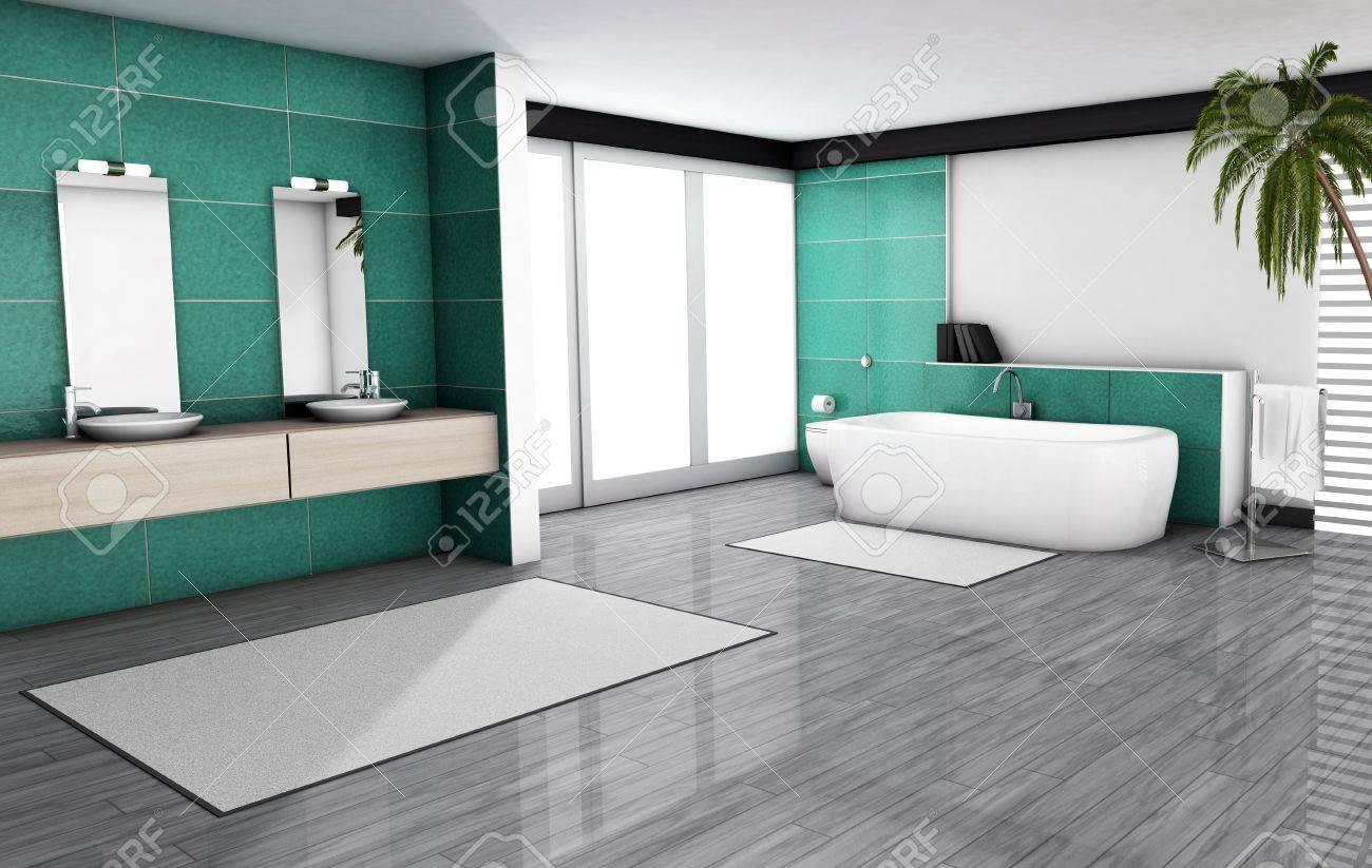 Bathroom Home Interior With Modern Fixtures Bathtub And
